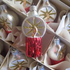 6 vintage poland christmas candle ornaments hand blown glass