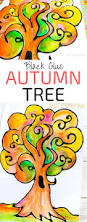 black glue autumn tree art arty crafty kids