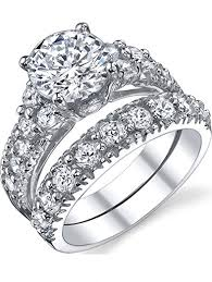 sterling engagement rings images Solid sterling silver 925 engagement ring set bridal jpg