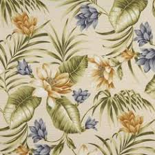 Upholstery Fabric Hawaii Gold And Gray Contemporary Painted Tropical Flower Print Linen