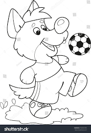 coloring page outline cartoon little wolf stock vector 702351595