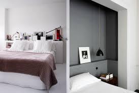 etagere chambre adulte lit avec rangement petit espace chevet suspendu tête de lit et