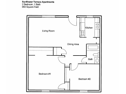 2 bedroom 1 bath floor plans sunflower terrace