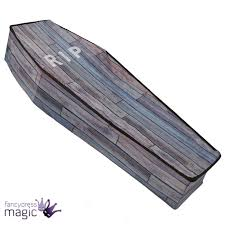 1 5m large wood effect vampire collapsible coffin halloween prop