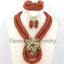 african crystal beads necklace images Fantastic african beads jewelry set handmade crystal bridal jpg