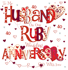 what is 40th wedding anniversary husband ruby 40th wedding anniversary greeting card cards