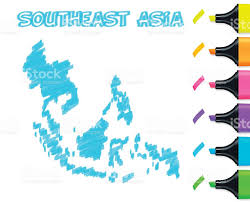 Southeast Asia Map by Southeast Asia Map Hand Drawn On White Background Blue Highlighter