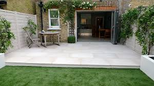 Cutting Patio Pavers Beige Sawn Smooth Cut Sandstone Patio With Easy Grass Lawn Clapham