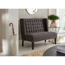 Upholstered Banquettes Dark Grey Tufted Upholstered Banquette Bench Free Shipping Today