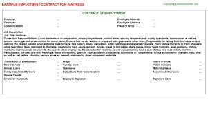 waitress employment contracts