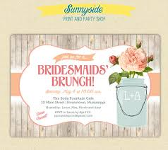 brunch bridal shower invitations bridesmaids brunch invitation rustic jar brunch luncheon