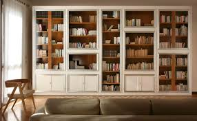 Narrow Bookshelves - furniture home library with white wooden large book cabinet with