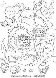 children exploring underwater submarine coloring stock