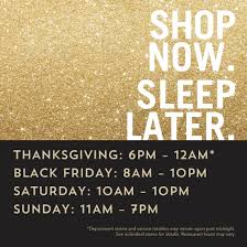 thanksgiving and black friday hours at the shops at wiregrass