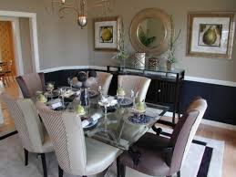 two tone dining room with chair rail light color abovedark color