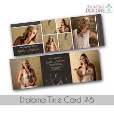 tri fold graduation announcements diploma time card 6 5x5 trifold graduation announcement custom tri