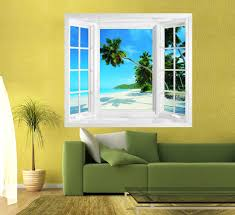 Tropical Shade Blinds Tropical Beach View Window Illusion Mural Create The Illusion Of