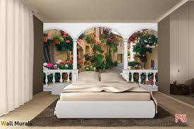 Wall Murals For Living Room Mural Terrace Retro Street With Flowers