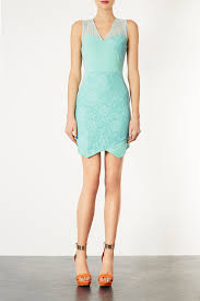 topshop lace applique bodycon dress in green lyst