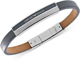 leather armani bracelet images Emporio armani bracelet gray leather and stainless steel logo jpg