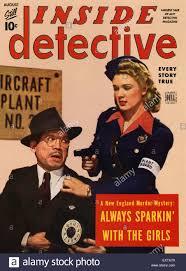 Magazine Usa 1940s Usa Inside Detective Magazine Cover Stock Photo Royalty