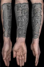 biomechanical eye torn ripped skin tattoo on forearm in 2017 real