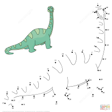 velociraptor dot to dot free printable coloring pages
