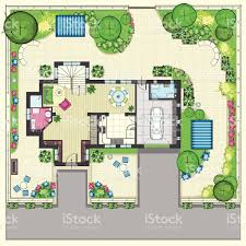 house plan with a beautiful garden and four lounge zones stock