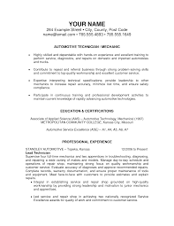tech resume format automotive technician student entry level