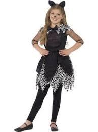 girls kids deluxe black cat kitty animal halloween fancy dress