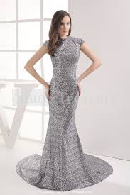 spring hourglass brush train split silver sequins dresses