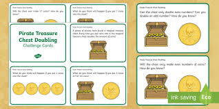 pirate treasure chest doubling challenge cards ks1 maths