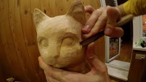 wood carving sculpture cat youtube