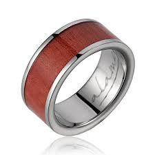 mens wedding bands wood inlay pelayo titanium wedding band with genuine pink ivory wood inlay