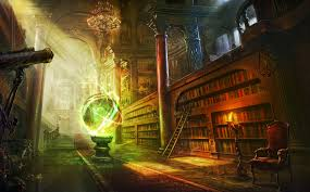 wallpaper magic ball library columns castle hd picture image