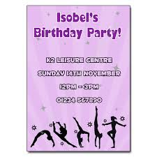 gymnastics party invitation personalised party invites