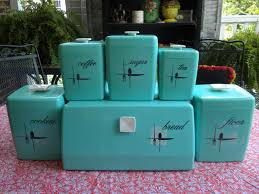 Retro Kitchen Sets by Vintage Turquoise Blue U0027lustro Ware Canister Set U0026 Bread Box