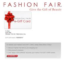 email gift certificates fashion fair egift card