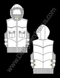 hooded vest with fur trim v4 fashion technical drawing designers