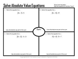 absolute value equations and linear inequality word problems placemats