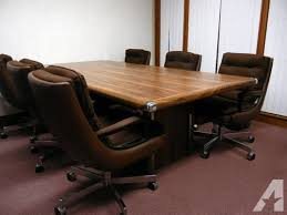dark wood conference table dark wood conference table and 6 leather back conference chairs for