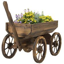 amazon com best choice products patio garden wooden wagon