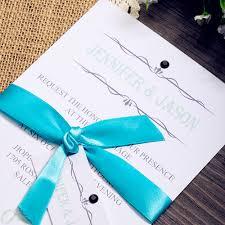 black and blue ribbon classic blue ribbon wedding invites with black rhinestones