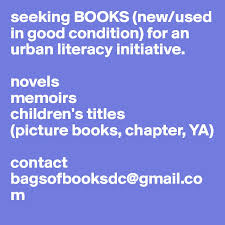Seeking Titles Seeking Books New Used In Condition For An Literacy