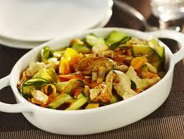 cuisiner aiguillette de poulet tagliatelles de carottes courgettes et aiguillettes de poulet