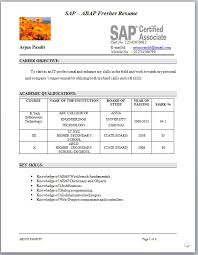 Sample Resume Format For Fresh by Sample Sap Abap Fresher Cv Format