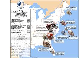 Southern Florida Map by College Football The Acc Attendance Map 2006 Billsportsmaps Com