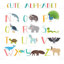 zoo cute cartoon animals alphabet from n to z stock vector art