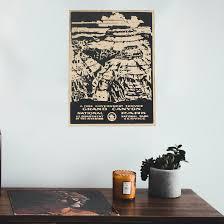 parks preserve grand vintage laser etched wood poster