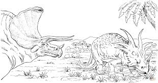 styracosaurus and triceratops coloring page free printable